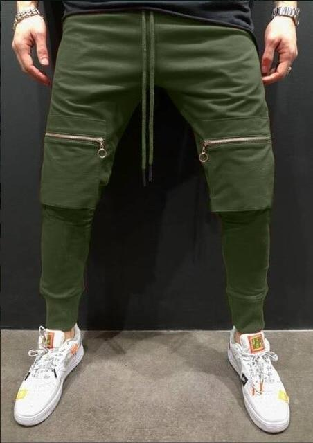 Men casual pants hip hop streetwear tight elastic waist jogging pants