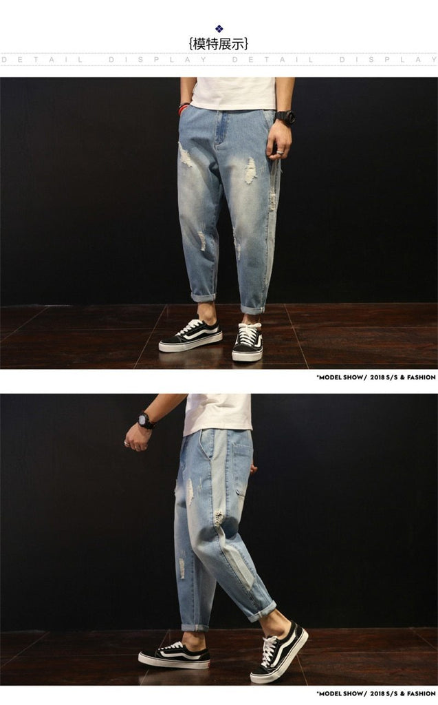 Hot Fashion Men Loose Holes Ripped Washed Ankle-Length Jeans