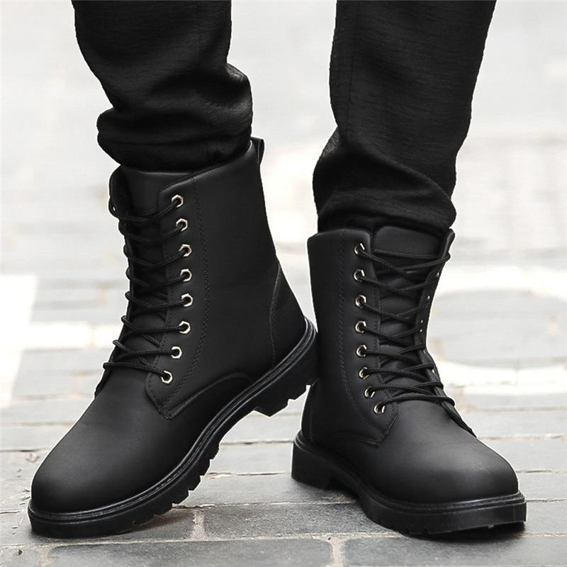 Men Boots Fashion Leather Wear Resisting Keep Warm Ankle Boots