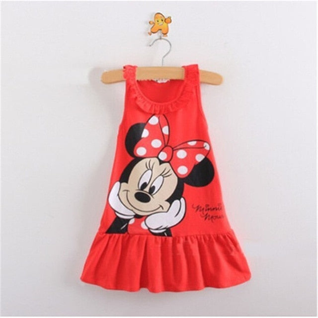 Toddler Girl Dress Minnie Cute Cartoon Pattern Dress