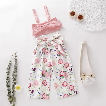 Newborn Baby Girls Clothes Bow Tops and Floral Pants Outfits Sets
