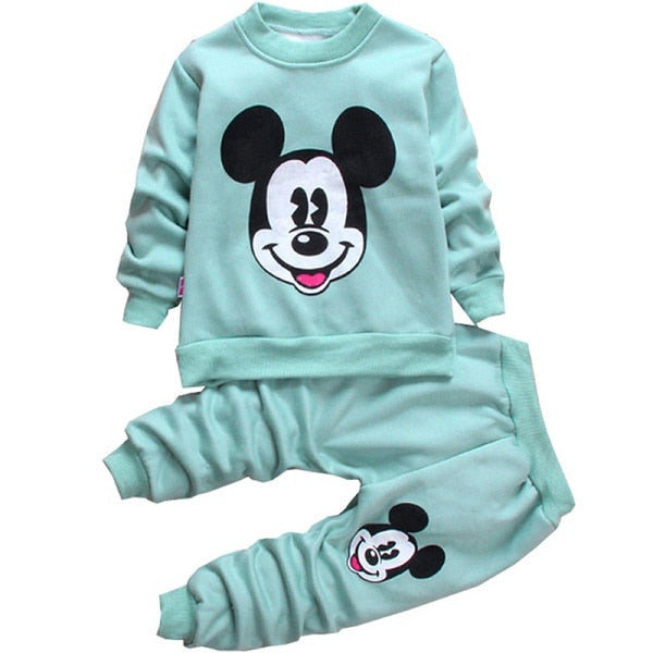 Mickey Minnie Sport Sweatshirt  Warm Wool Pants Toddler Boys Clothing Sets