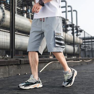 Men Drawstring Multi Pocket Loose Cargo Shorts