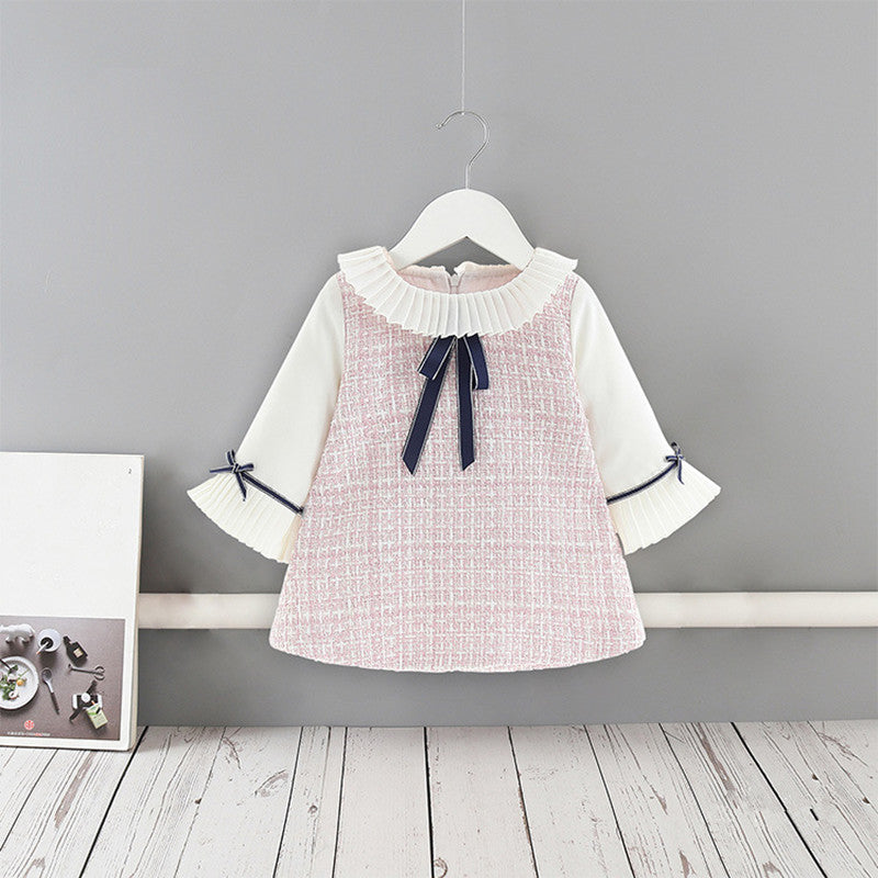 Toddler Girls Dress Preppy Style Flare Sleeve Plaid Dress