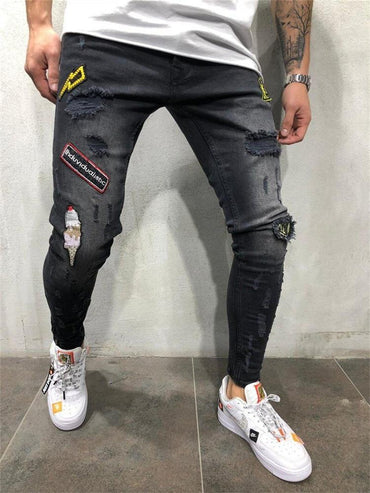 Men Ripped Skinny Jeans Fashion Hip Hop Streetwear Destroyed Pencil Jeans