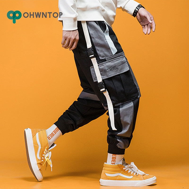 Men Streetwear Hip Hop Ribbons Sweatpants