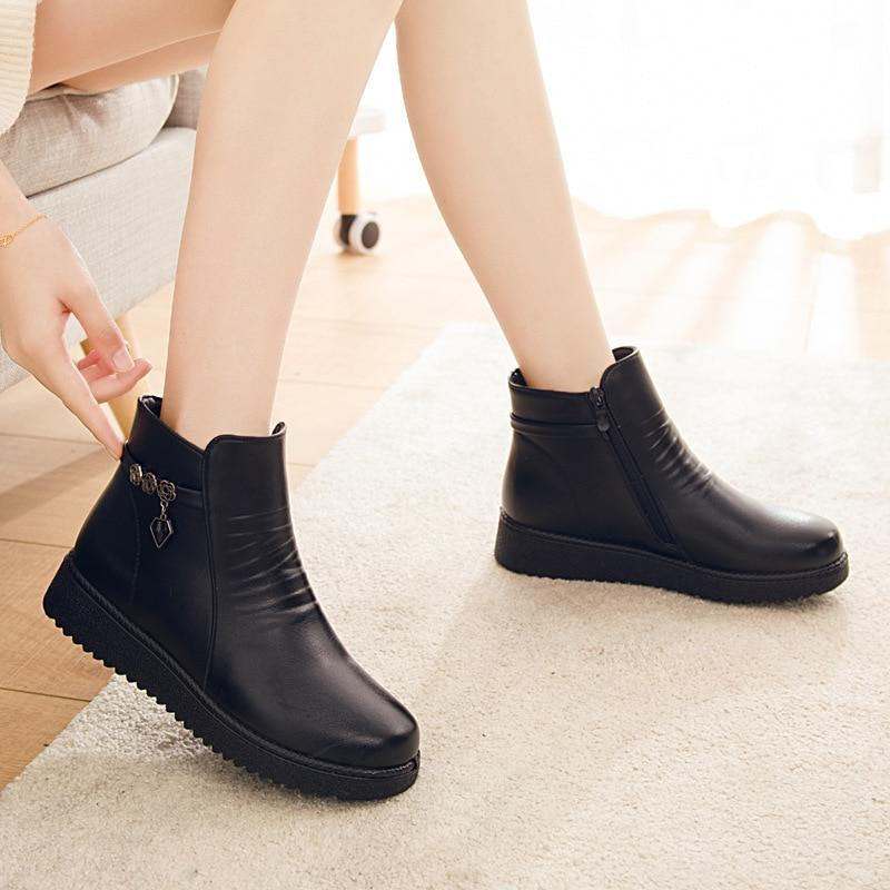 Women Ankle Boots Non-slip Warm Fur Top Quality Leather Boots