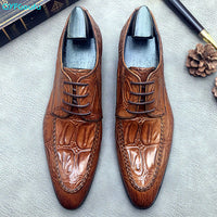 Luxury Men Formal Shoes Italian Designer Crocodile Leather Oxford Shoes