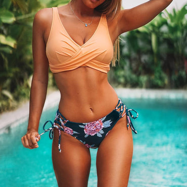 Floral Lace Up Bikini Set Women Boho Two Pieces Swimsuit
