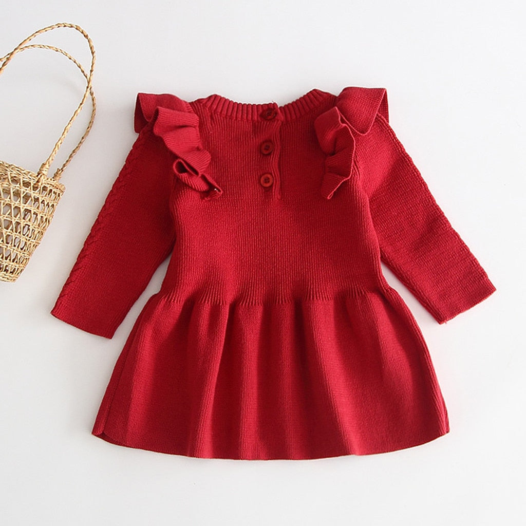 Toddler Girls Casual Solid Long Sleeve O-neck Dress