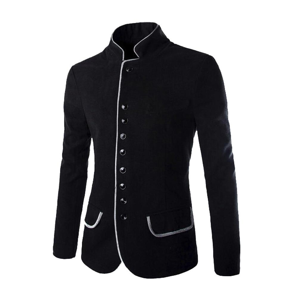 New Style Men Sweaters Autumn Winter Long Sleeve Stand-up Collar Button Cardigan