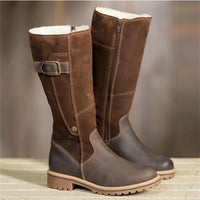 Classic Fashion Women Boots Plush Warm Kneel High Luxry Patchwork Boots