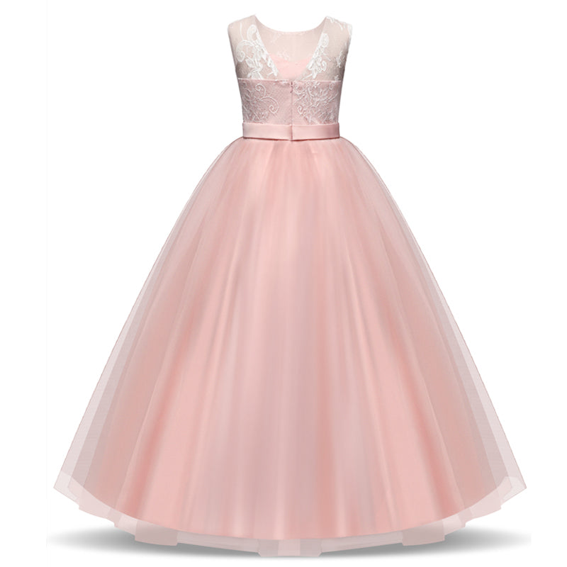 Girls Dress Elegant Long Tulle Lace Princess Party Dress