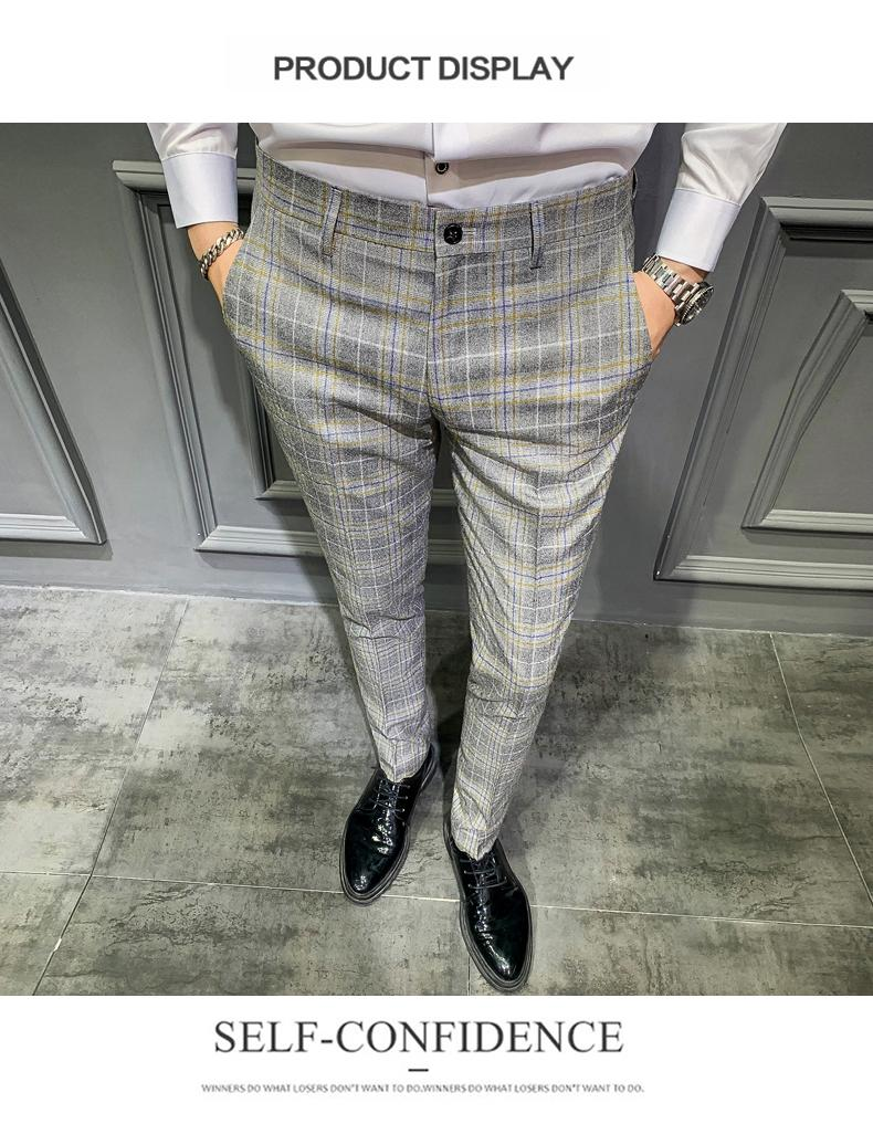 Men Business Formal Pants Skinny Plaid British Designer Custom Made Cotton Trousers