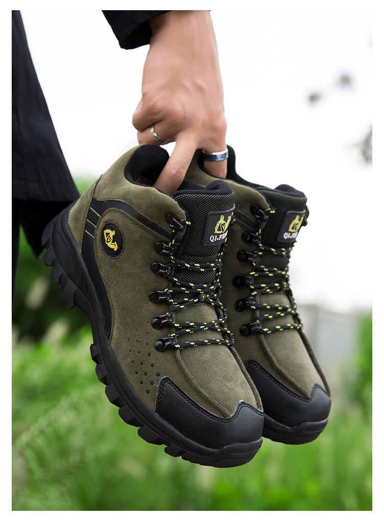 Men Snow Boots Genuine Leather Waterproof Fashion High Top Winter Boots