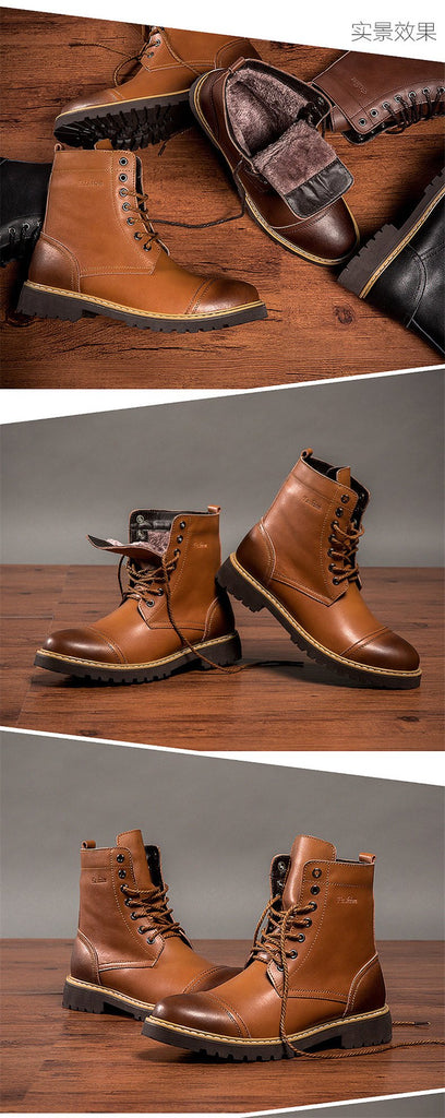 Men Boots Genuine Leather Premium Quality Retro Fashion Martin Boots