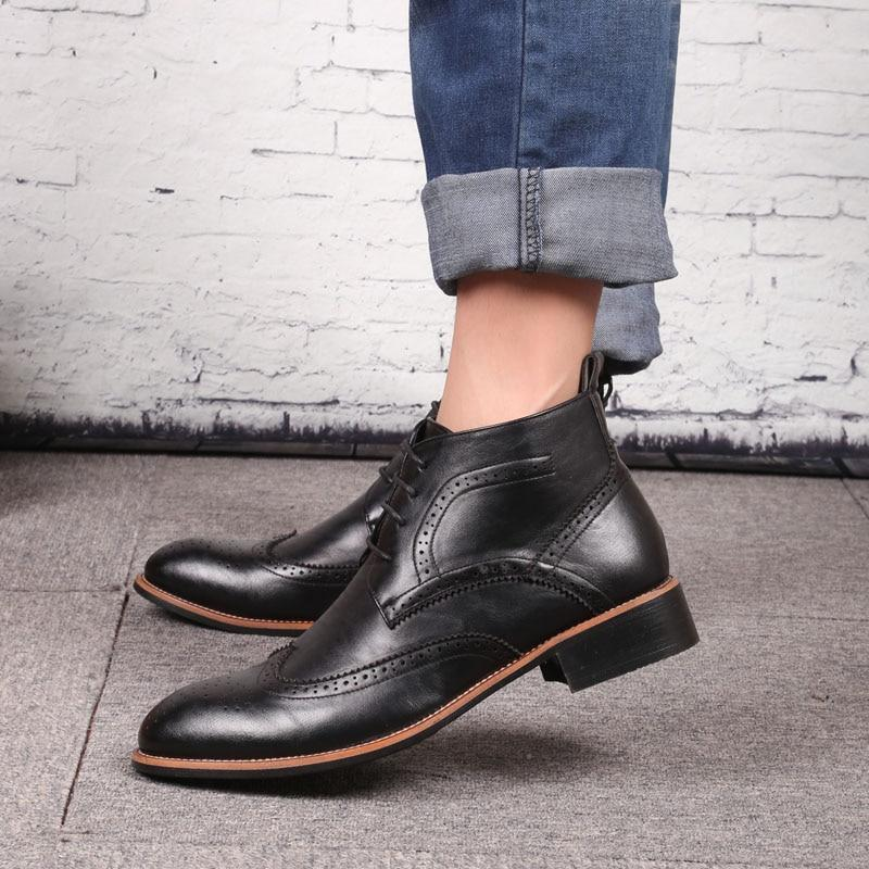 Men ankle boots rubber sole fashion luxury quality handmade leather chelsea boots