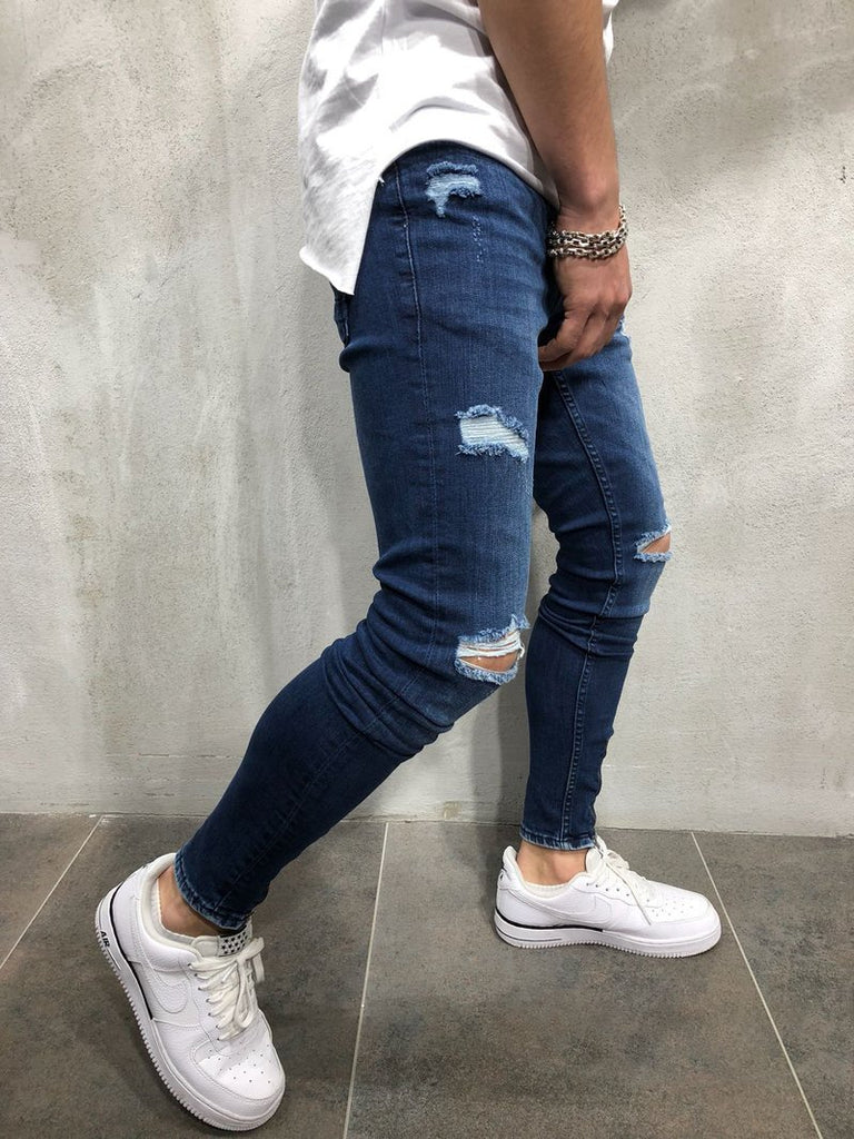 Men Knee Ripped Skinny Jeans Cool Hip Hop Distressed Holes Jogger Jeans