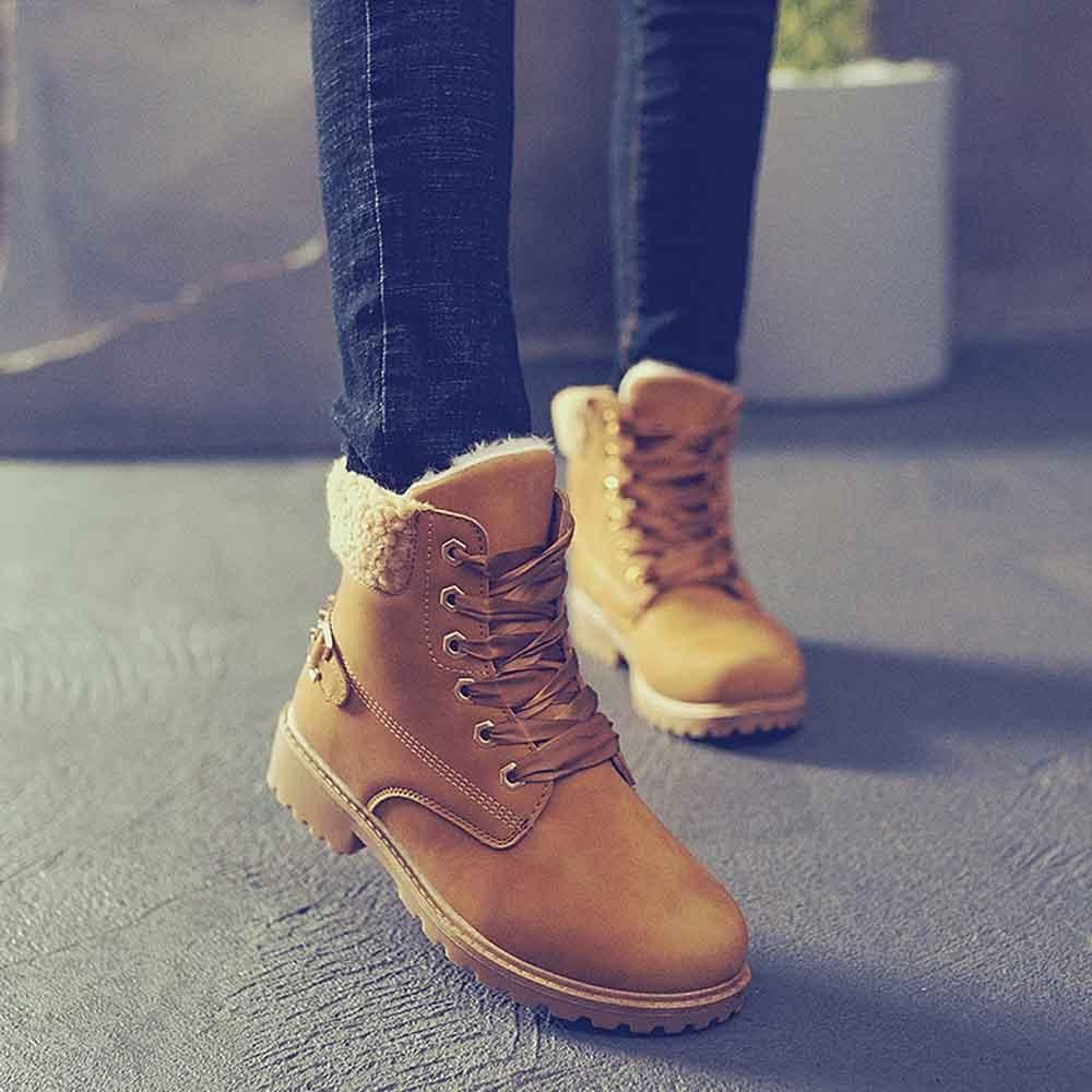 Women Winter Boots Solid Lace Up Round