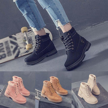 Women Ankle Boots Solid Lace Up Round Toe Classic Fashion Design