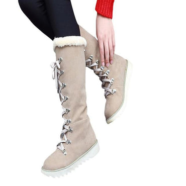 New Fashion Women High Boots Lace Up Non Slip Round Toe Leather Boots