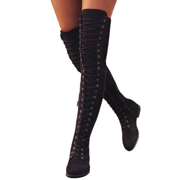 Sexy Women Over The Knee Boots Lace Up Suede Thigh High Boots