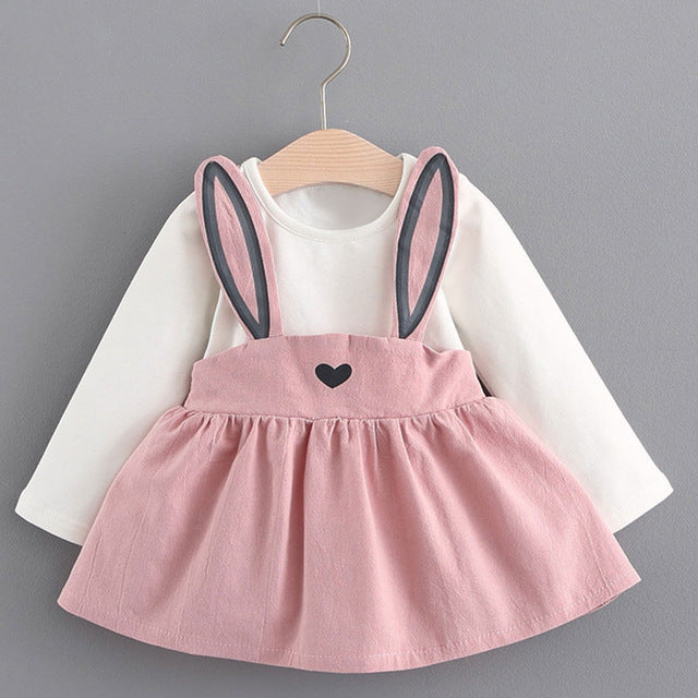 Toddler Girls Dress Long Sleeve Cute Bow Tie Cotton Dress