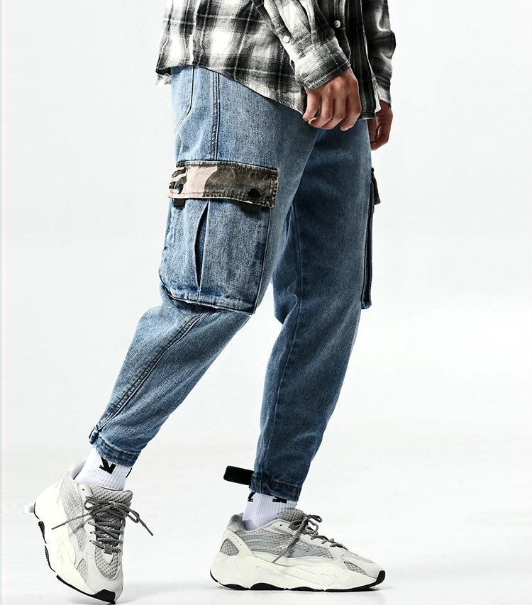 Men Jogger Jeans Fashion Patchwork Cool Streetwear Style