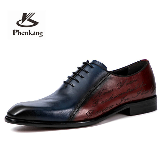 Men Luxury Genuine Leather British Handmade Oxford Dress Shoes
