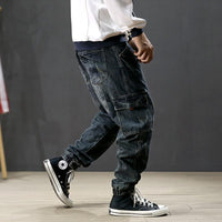 Fashion Men Jeans Vintage Ripped Harem Retro  Loose Fit Hip Hop Jogger Jeans
