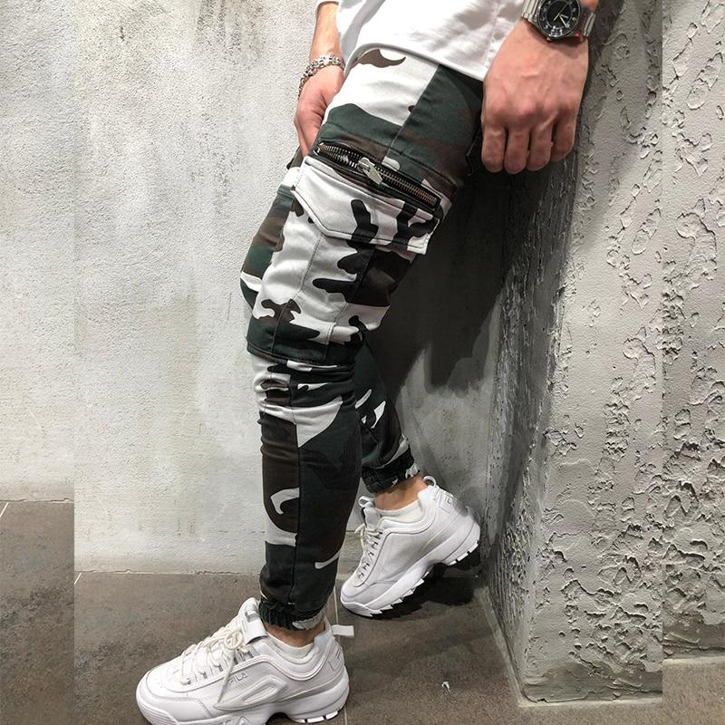 Men Camouflage Cargo Pants Slim Fit Elastic Fashion Streetwear Sweatpants