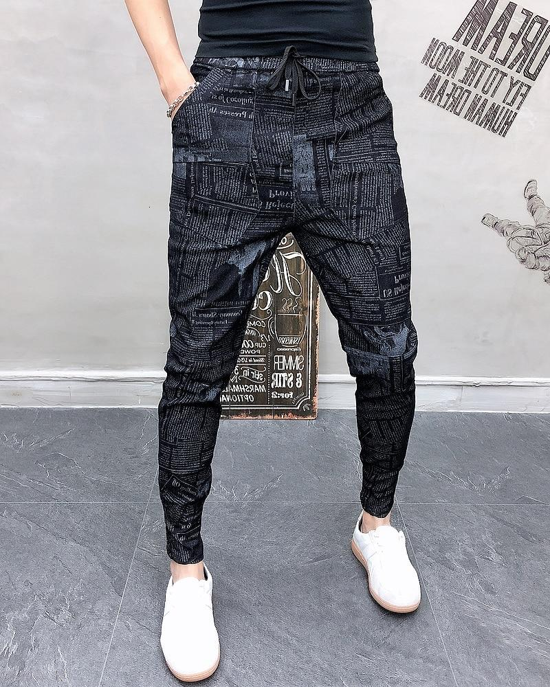Cool Fashion Style Men Sweatpants Letter Print Mid-Waist Slim Fit Jogger Pants