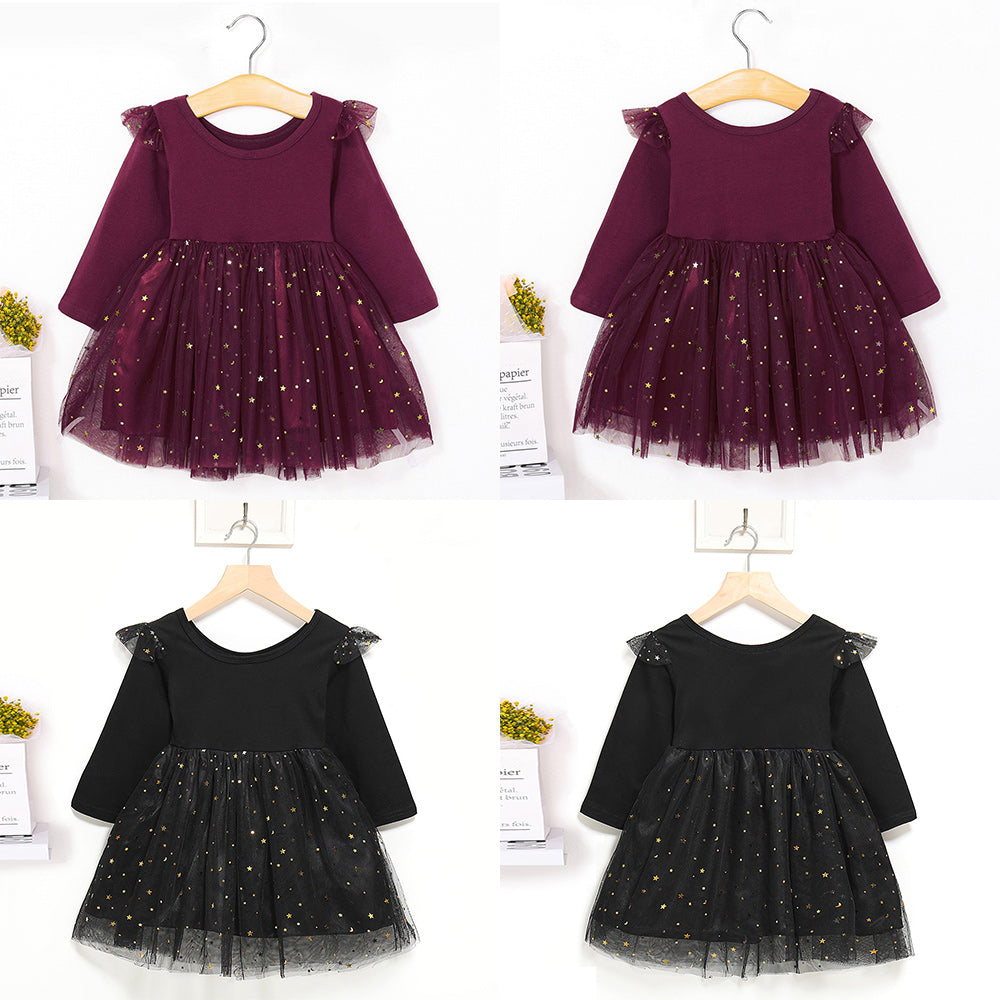 Toddler Girl Dress Star Sequins Long Sleeve Party Dress