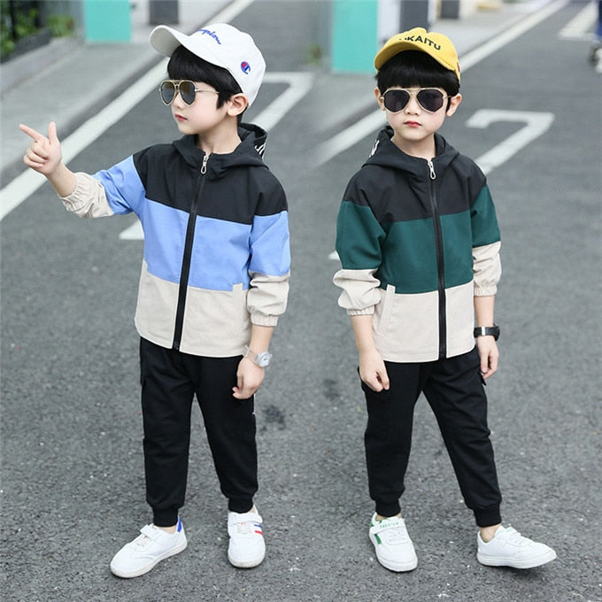 Boys Fashion Clothing Set Long Sleeve Pullover Solid Sport Pants