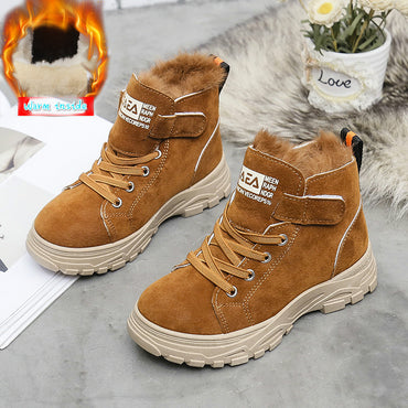 Fashion Style Boys Martin Boots Genuine Leather Rabbit Hair Warm Shoes