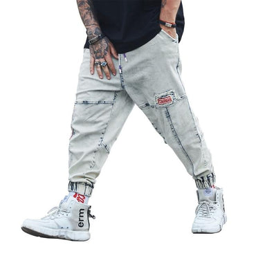 Men Ripped Skinny Embroidered Jeans Destroyed Slim Fit Scratched Loose Jeans