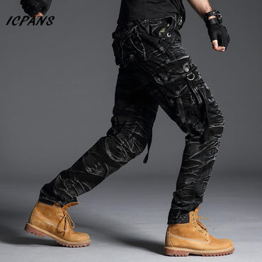 Men Tactical Camo Cargo Pants Casual Fashion Big Pockets Camouflage Trousers