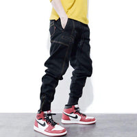 Men Jeans Harem Trousers Zipper Bottom Multi Pockets Jogger Jeans