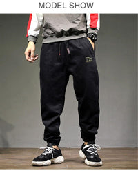 High Street Fashion Men Jogger Jeans Loose Fit Cargo Harem Hip Hop Jeans
