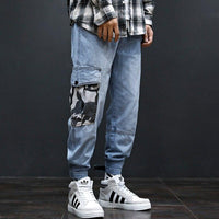 Street Style Fashion Men Jeans Loose Camouflage Patch Pocket Jogger Jeans