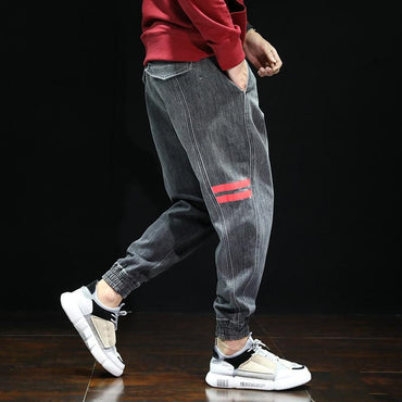 Street Style Men Jogger Jeans Loose Fit Patch Design