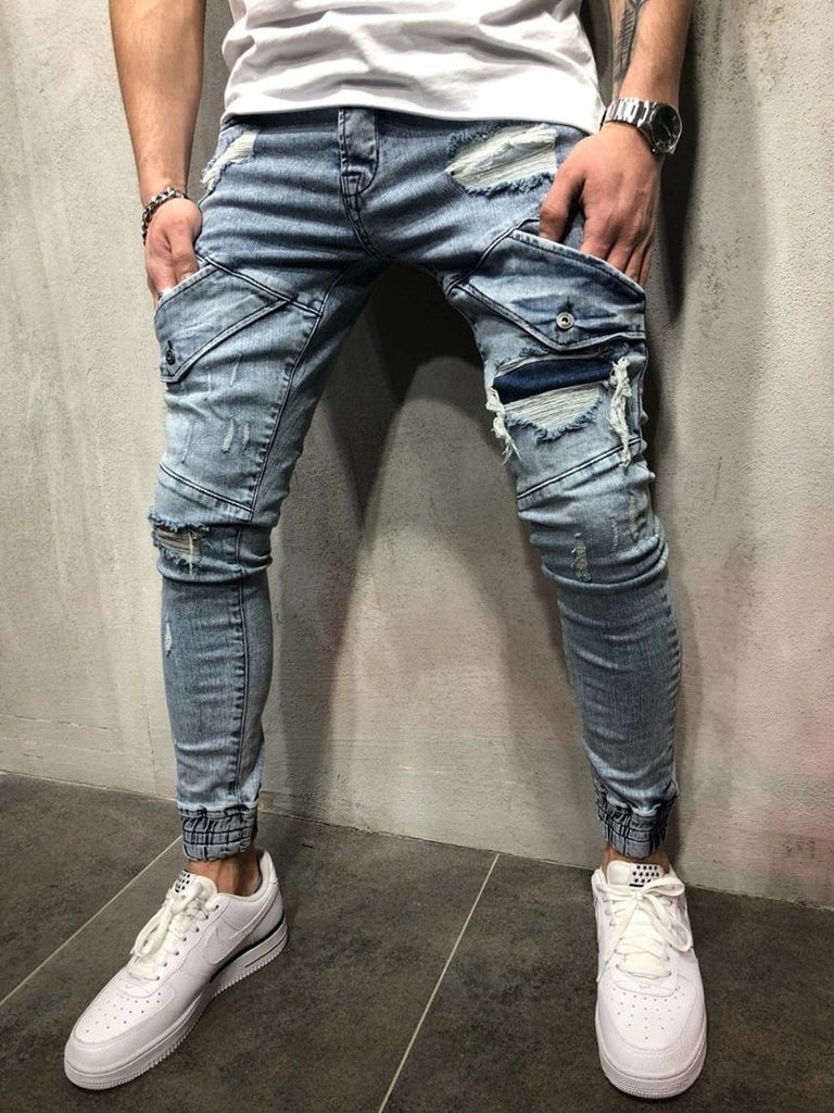 Men Ripped Skinny Jeans Retro Streetwear Hip Hop Destroyed Frayed Jogger Jeans