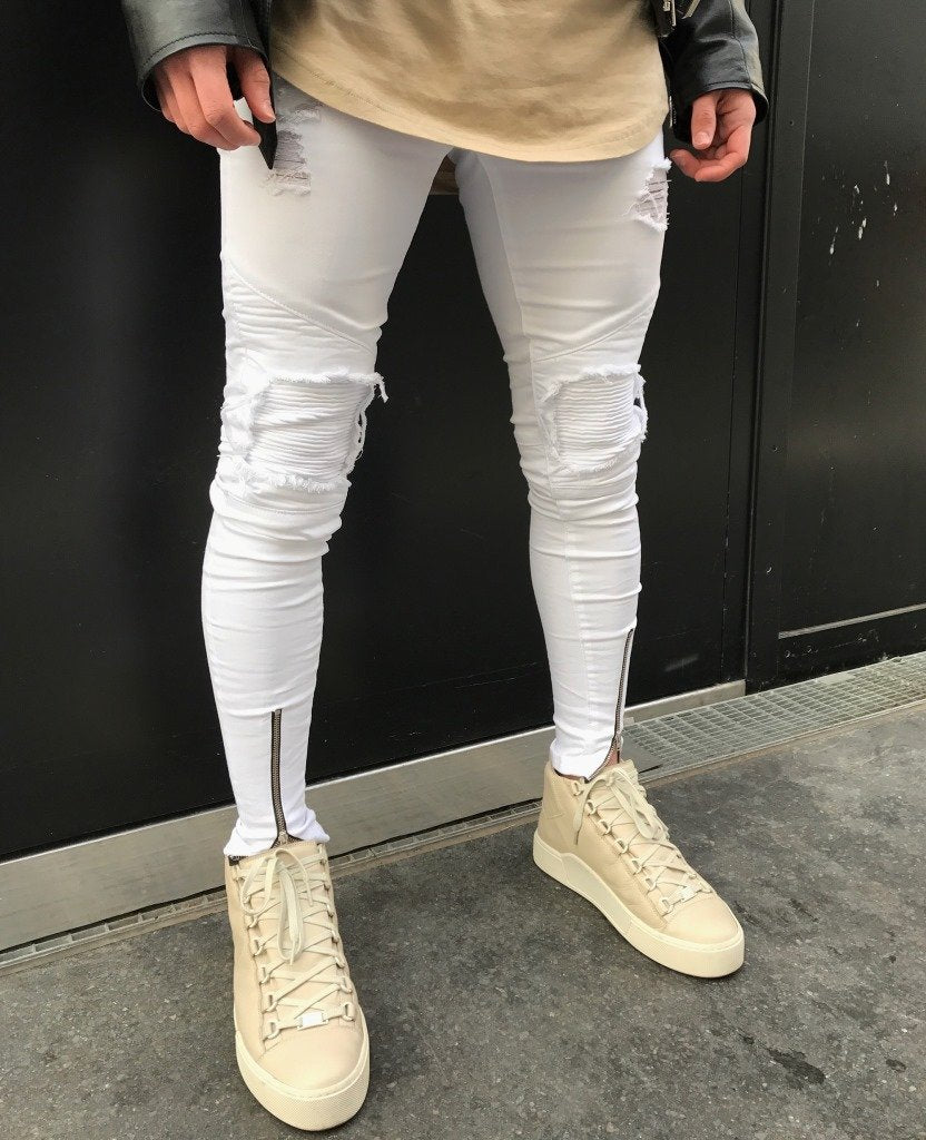 Fashion Men Skinny Jeans Tapered Knee Leather Hip Hop Stretch Ankle Zipper Jeans