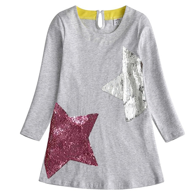 Girls Dress Cotton Casual Long Sleeve Cartoon Princess Dress