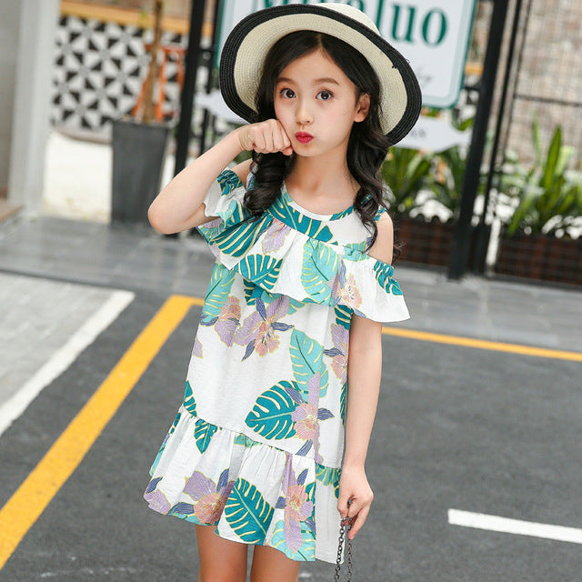Girl Sling Dress Summer Fashion Leaf Print Leisure Dress