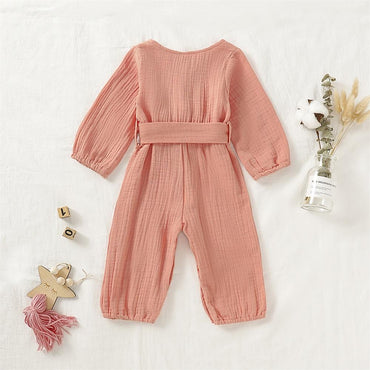 Newborn Baby Girl Button Bowknot Organic Cotton Romper