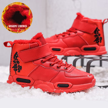 Boys Winter Shoes Lace Up Warm Snow Boots