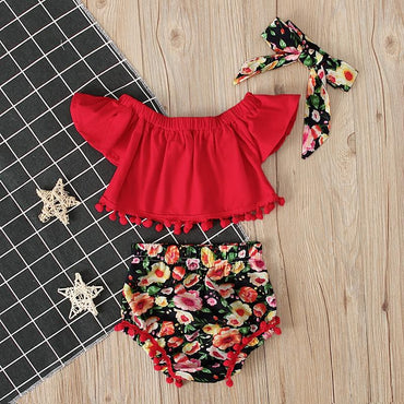 Baby Girls Flower Clothing Crop Tops and Floral Shorts Headband Infant Girl Outfit