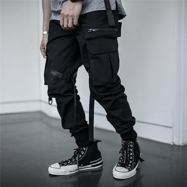 Men Fashion High Street Casual Ribbon Cargo Pants