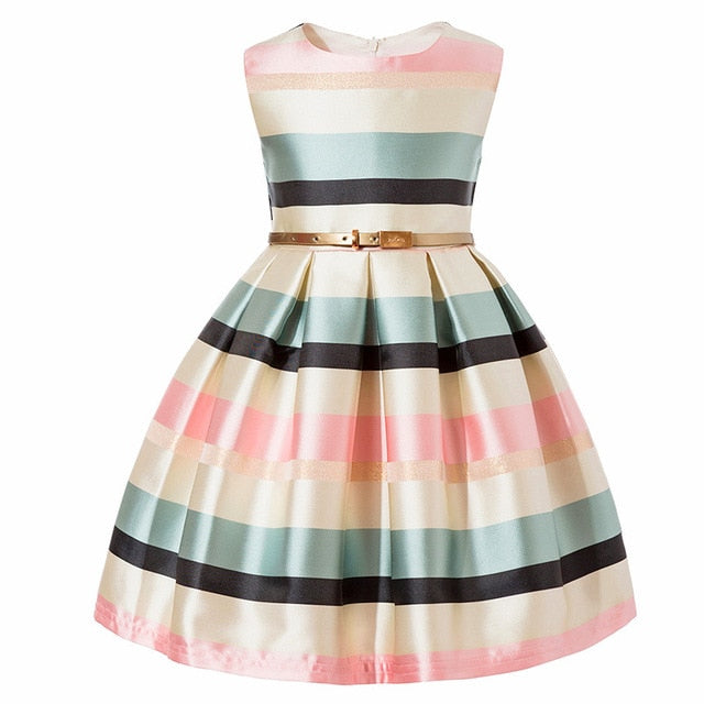 Girls Princess Striped Dress Formal Party Costume